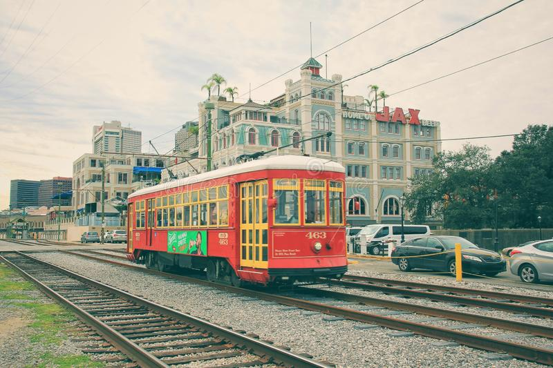 The iconic New Orleans Street Car. Approaches the station in winter. New Orleans has historically been a transportation hub royalty free stock image