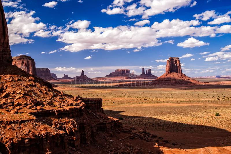 Monument Valley Iconic Landscape. Iconic Old West landscape at Monument Valley in the Navajo Nation stock images