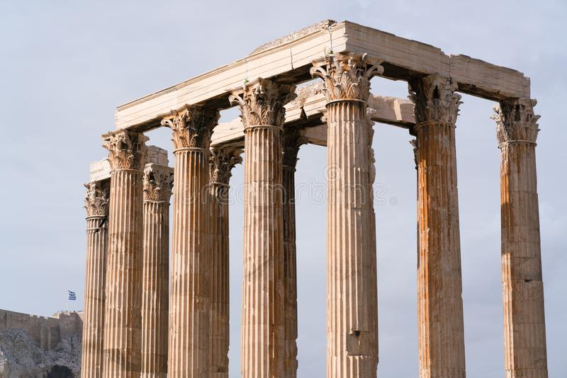 Iconic pillars of Temple of Olympian Zeus, Athens historic center. royalty free stock photos