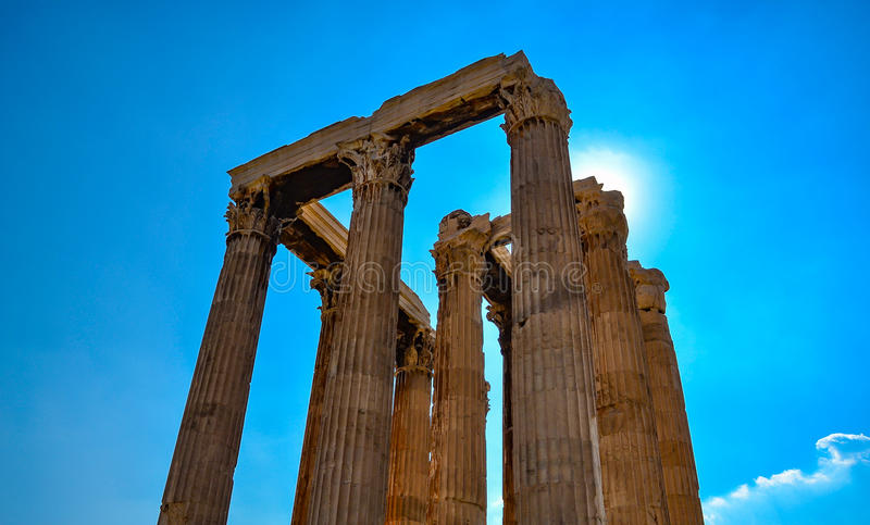 Iconic pillars of Temple of Olympian Zeus on a spring day, Athens historic center, Greece royalty free stock photography