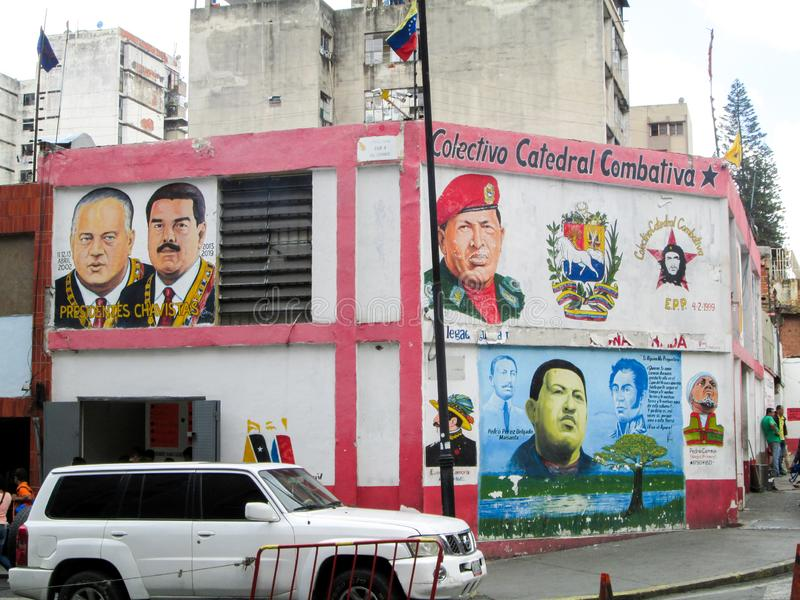 Iconic places of the Center of Caracas in which buildings decorated with murals by the Chavez and Maduro government are seen. Caracas, Venezuela.Iconic places of royalty free stock photos