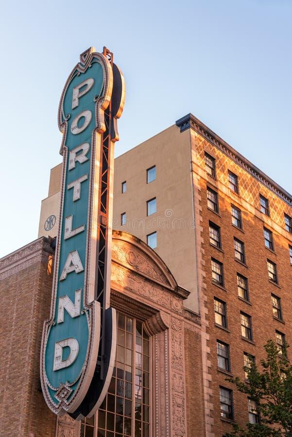 Iconic Portland tecken royaltyfri fotografi