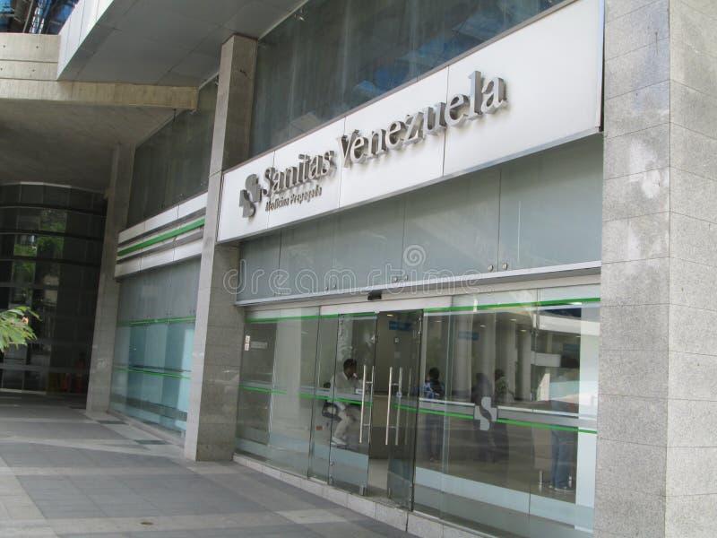 Iconic prepaid medicine company, franchise of Spanish origin, SANITAS, offices based in Chacao, Caracas, Venezuela.  royalty free stock image