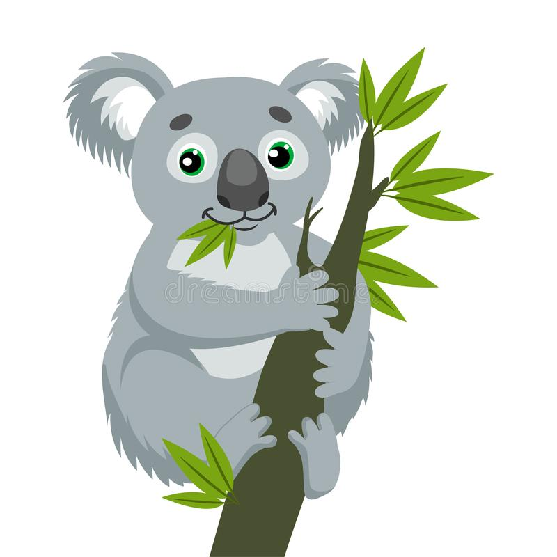 Iconic pungdjur Koala på den Wood filialen med gröna sidor Australiskt djur stock illustrationer