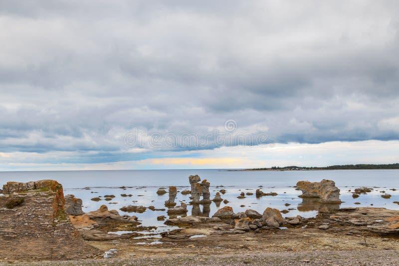 Iconic rauk landscape on Gotland. Sweden royalty free stock photos