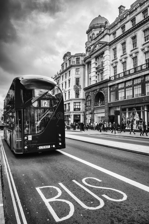 The iconic red Routemaster Bus in London. The London Bus is one of London's principal icons, the archetypal red rear-entrance Routemaster being recognised royalty free stock images