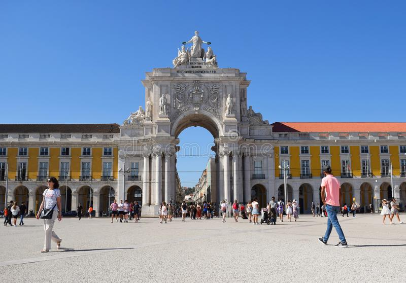 Rua August Arch taken from Commercial Square Lisbon Portugal. The iconic Rua Augusta Arch in Lisbon`s Baixa District taken from Commercial Square on a sunny stock image