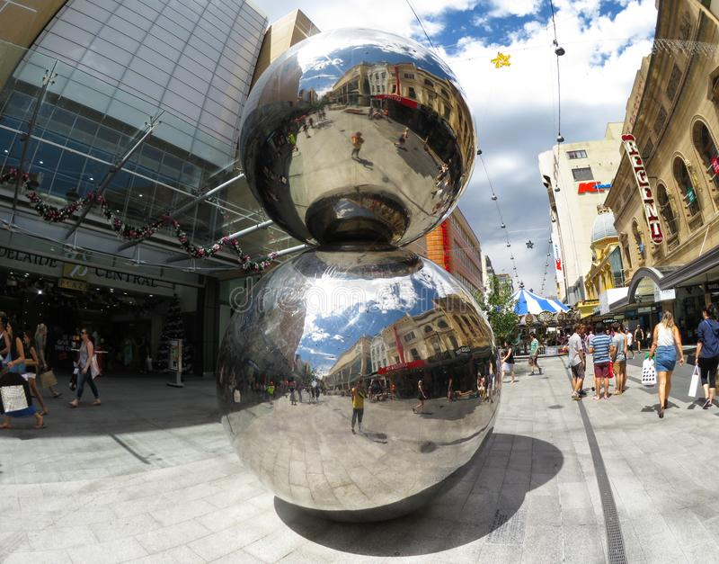 The iconic sculpture at Rundle mall Street called `The Malls Balls` in the main shopping center. stock photo