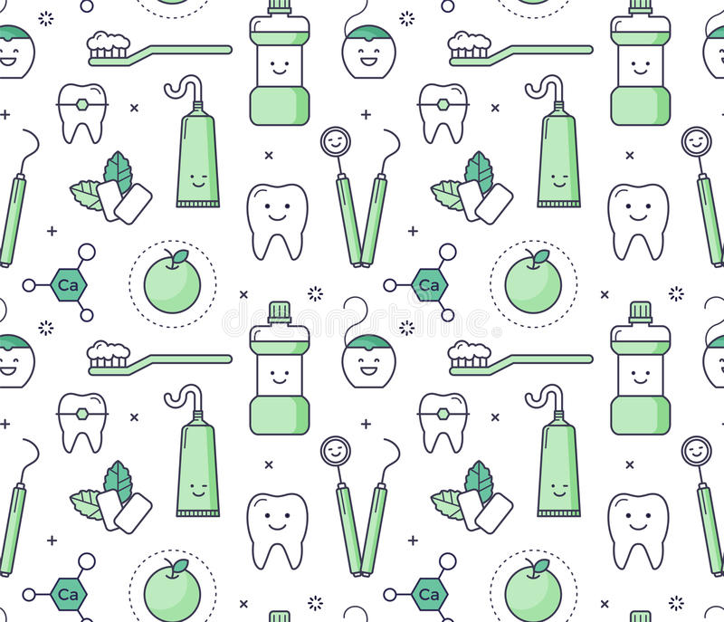 Iconic seamless Pattern about dentistry for kids stock illustration
