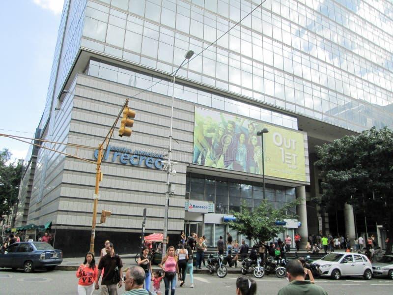 Iconic shopping center of the city of Caracas, El Recreo Shopping Center, near the Boulevard de Sabana Grande, Caracas, Venezuela.  royalty free stock image