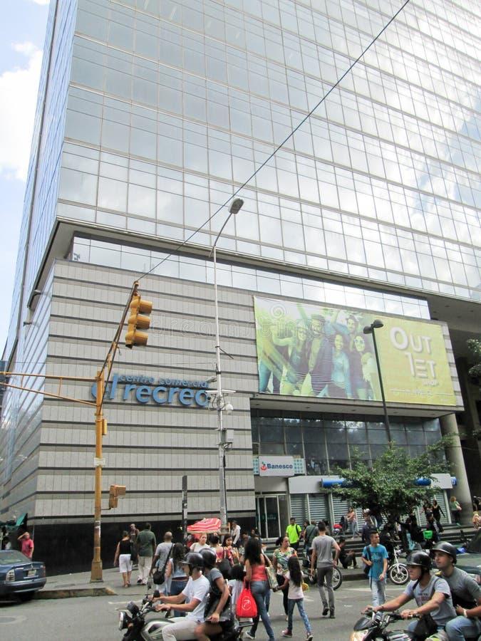 Iconic shopping center of the city of Caracas, El Recreo Shopping Center, near the Boulevard de Sabana Grande, Caracas, Venezuela.  royalty free stock photos