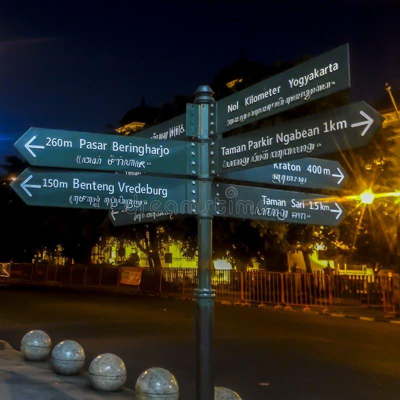 Street Sign Direction in Yogyakarta stock photo