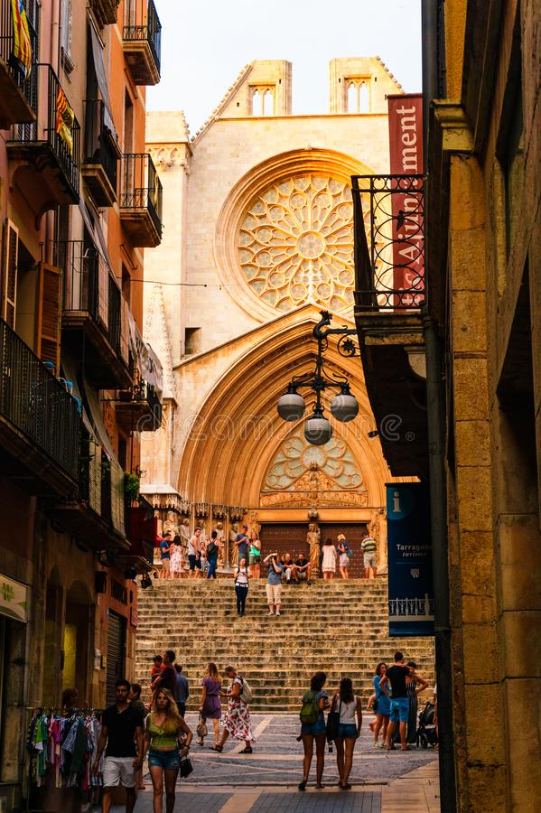 A iconic street in Tarragona downtown royalty free stock photography