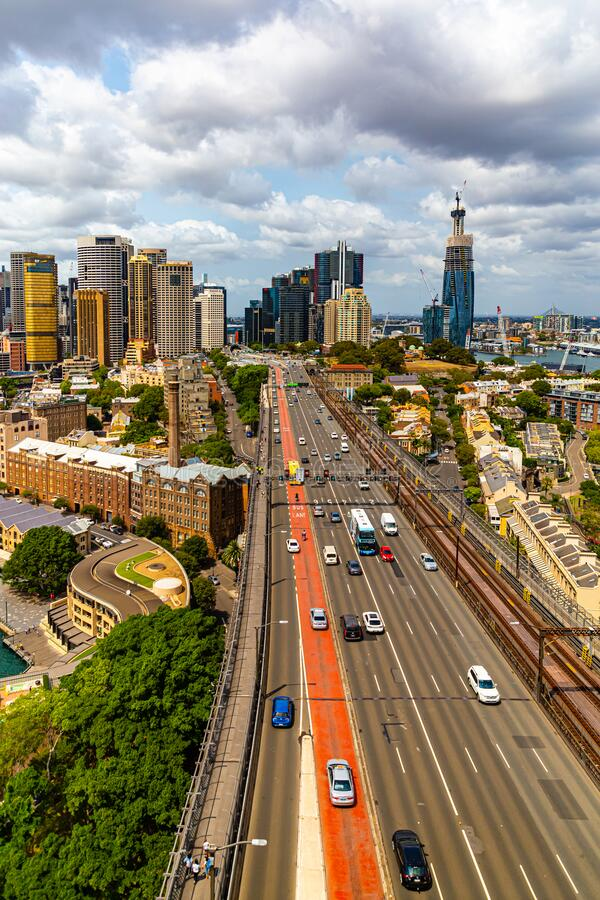 Sydney Iconic Harbor Bridge and North Western business district ; Sydney New South Wales Australia. Iconic Sydney Harbor Bridge  and the North Western Sydney stock photography