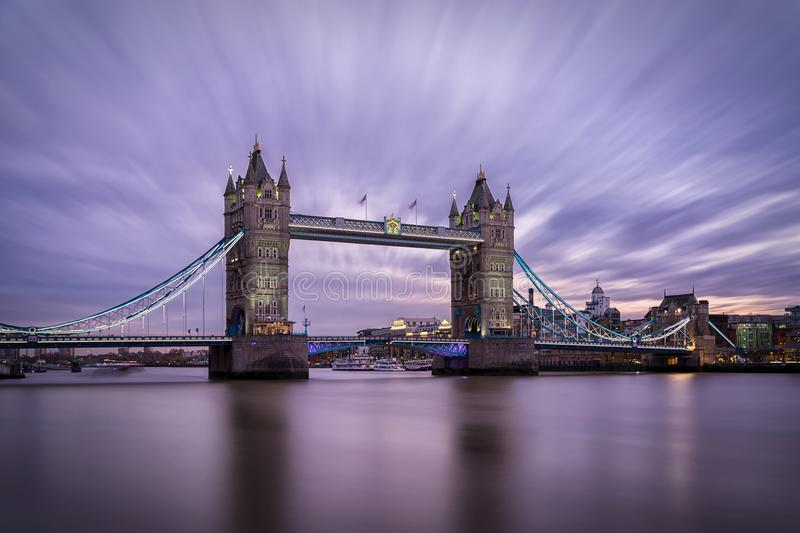 The iconic Tower Bridge in London, United Kingdom. During sunset stock photos