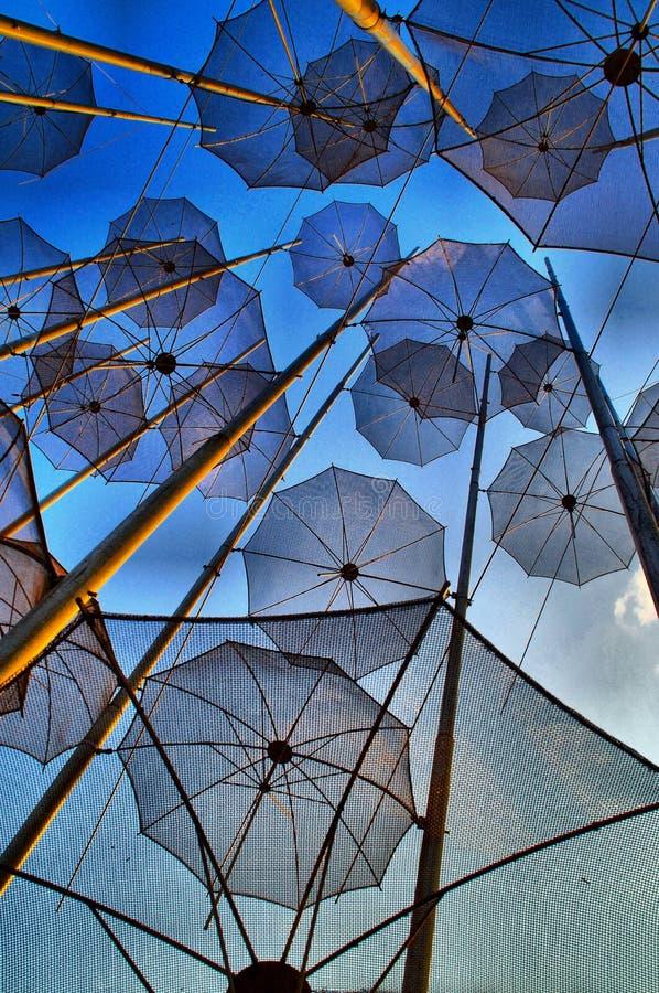 Thessaloniki Umbrellas, Greece. Iconic umbrellas of Thessaloniki, Greece at sunset royalty free stock image