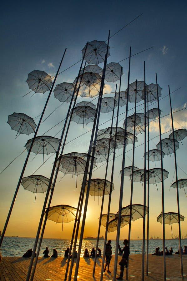 Thessaloniki Umbrellas, Greece. Iconic umbrellas of Thessaloniki, Greece at sunset stock images