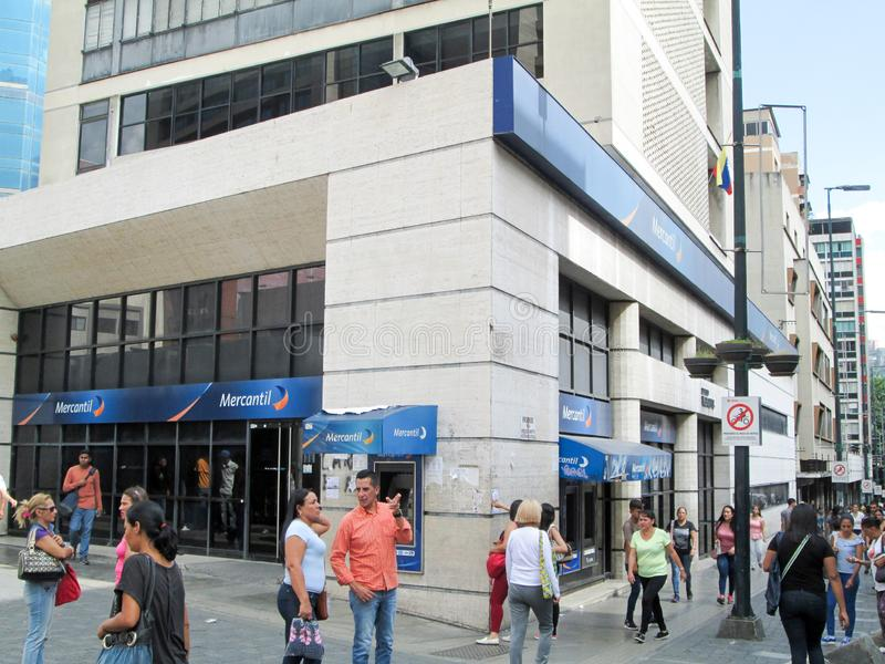 Iconic Venezuelan bank, Banco Mercantil, on Boulevard de Sabana Grande, Caracas, Venezuela.  stock images