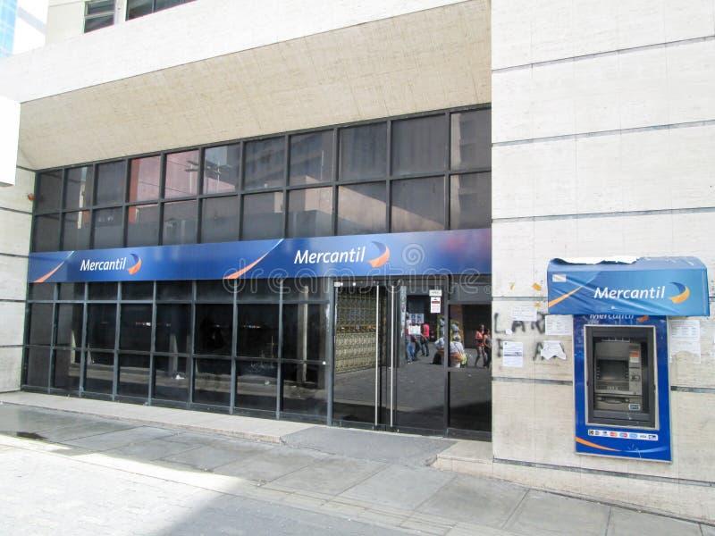 Iconic Venezuelan bank, Banco Mercantil, on Boulevard de Sabana Grande, Caracas, Venezuela.  stock photos