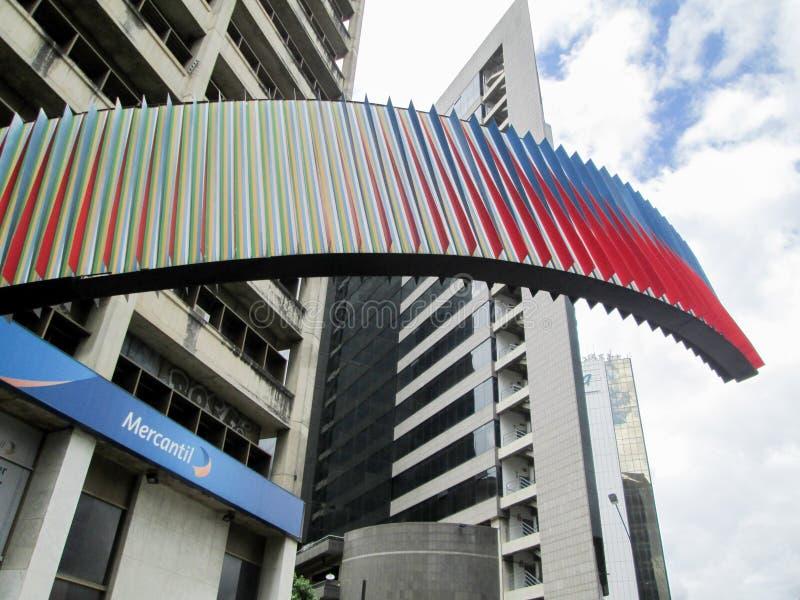 Iconic Venezuelan bank, Banco Mercantil, on Los Palos Grandes, Chacao, Caracas, Venezuela.  royalty free stock images