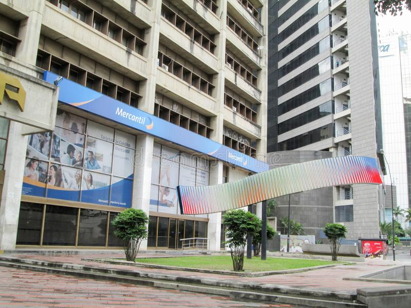 Iconic Venezuelan bank, Banco Mercantil, on Los Palos Grandes, Chacao, Caracas, Venezuela.  stock photo