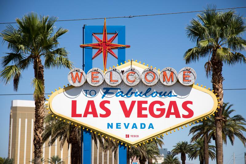 Iconic Welcome to Fabulous Las Vegas Sign fotografia stock