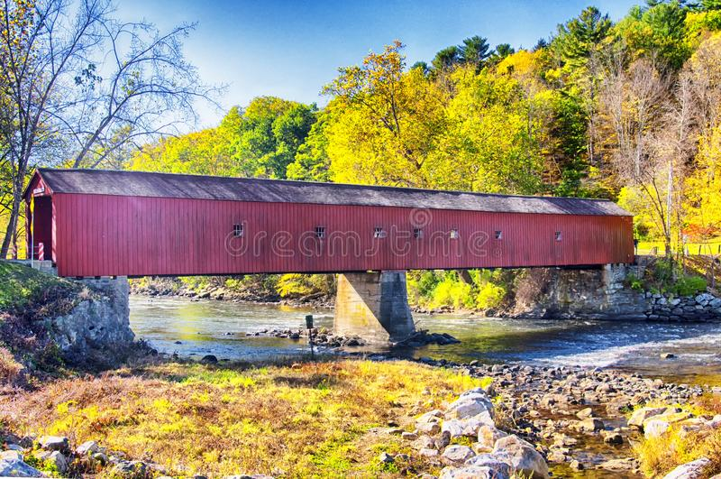West Cornwall covered bridge autumn royalty free stock images