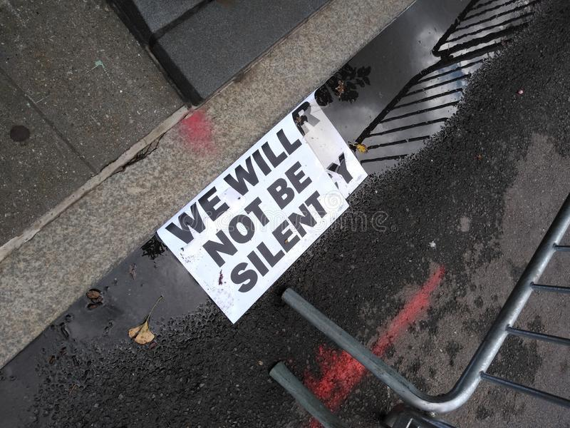 Protest Sign, We Will Not Be Silent, NYC, NY, USA royalty free stock image