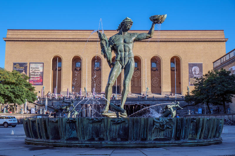 Iconisch Poseidon-standbeeld in Gothenburg, Zweden stock afbeelding