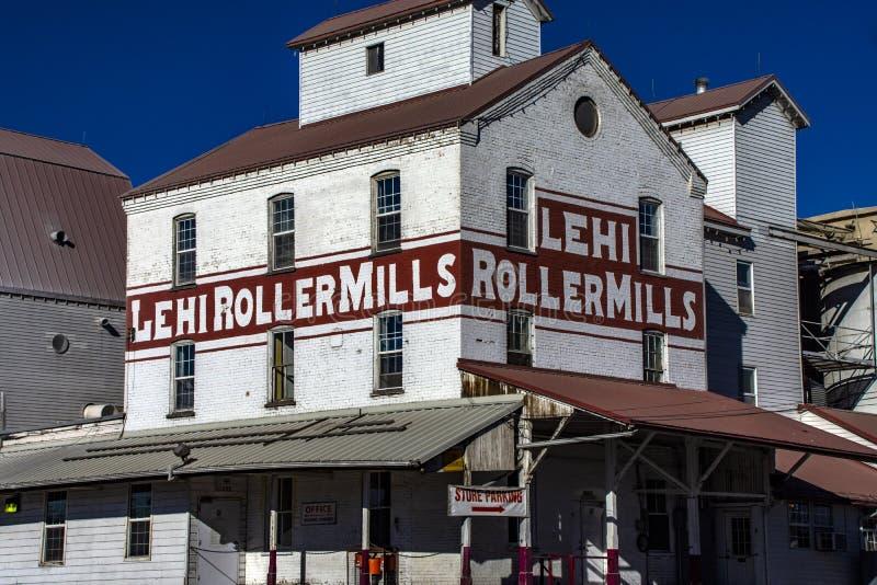 Iconische Graanmolens in de Rolmolens van de V.S. Lehi royalty-vrije stock foto