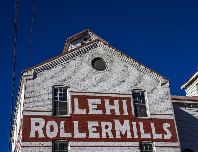 Iconische Graanmolens in de Rolmolens van de V.S. Lehi royalty-vrije stock fotografie
