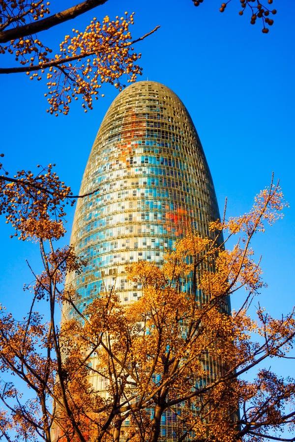 Iconische Torre Glà ² ries a K A De wolkenkrabber van Torreagbar in Barcelona stock afbeeldingen