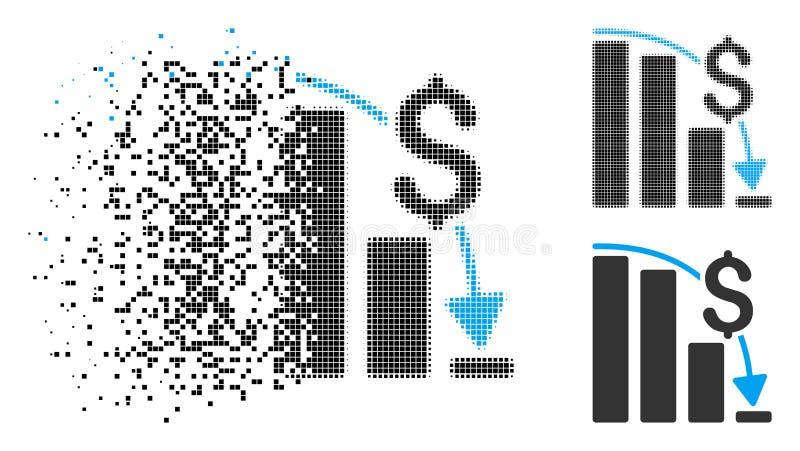 Icono épico financiero de semitono de disolución del fall de Pixelated stock de ilustración