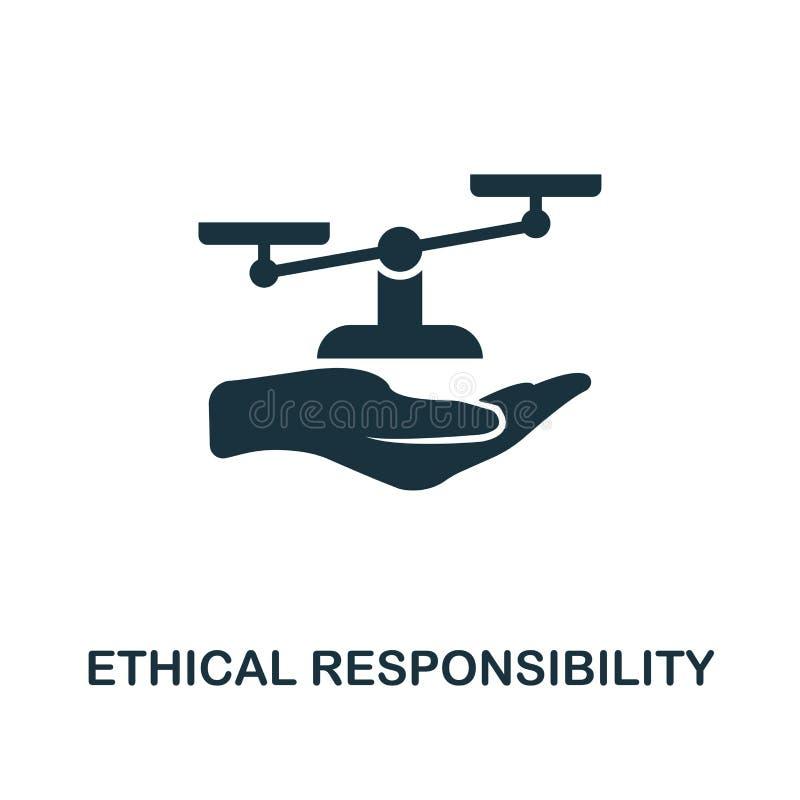 Icono ético de la responsabilidad Diseño monocromático del estilo de la colección del icono de la ética empresarial UI y UX Pixel ilustración del vector