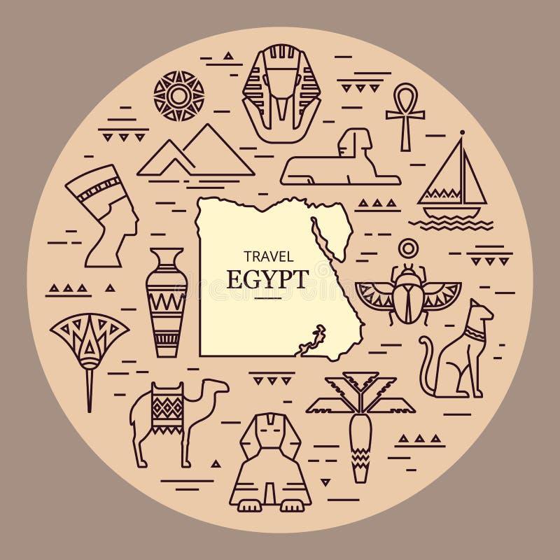 Icono étnico egipcio del arte tribal Siluetas negras exhaustas de la mano de la historieta del bosquejo de Egipto en un fondo bla libre illustration