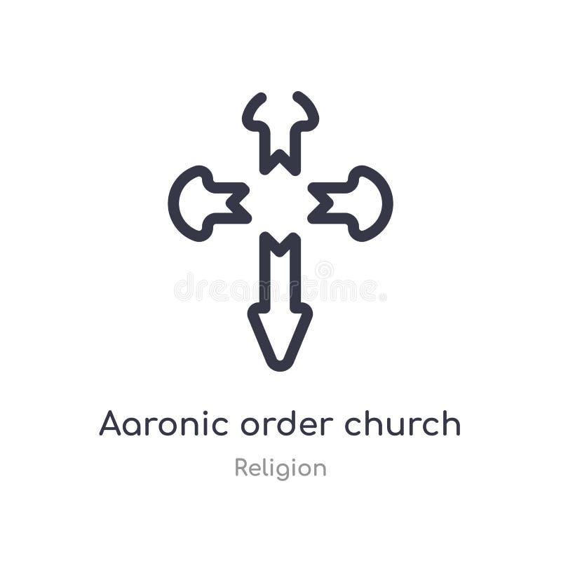 icono aaronic del esquema de la iglesia de la orden l?nea aislada ejemplo del vector de la colecci?n de la religi?n orden aaronic stock de ilustración