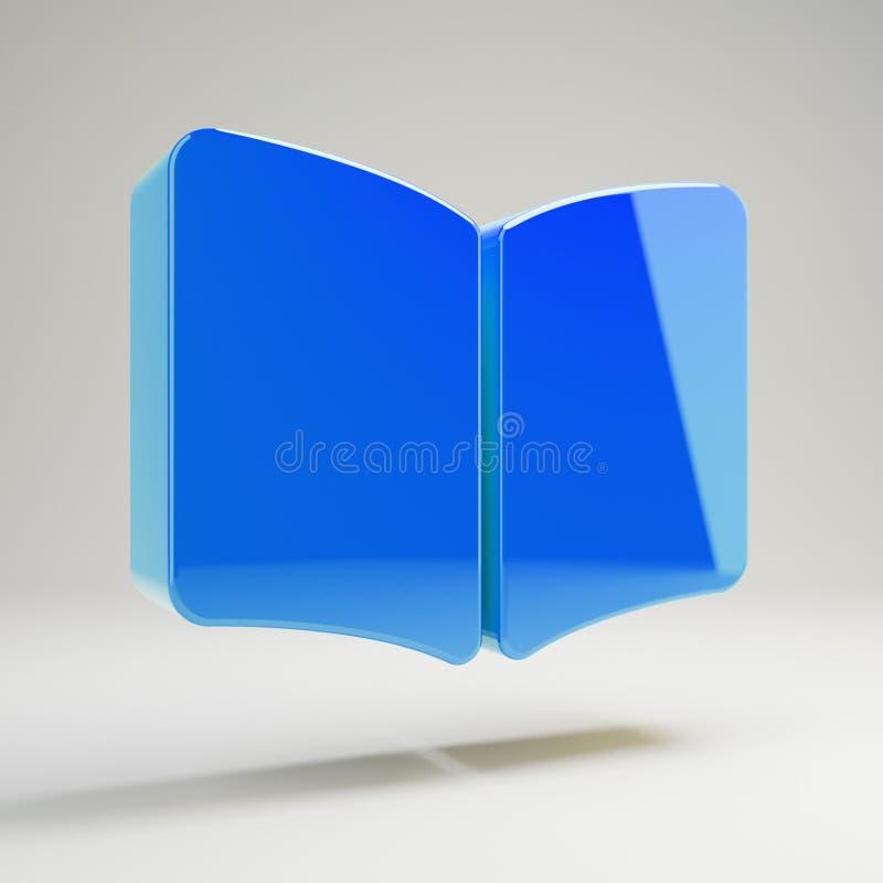 Icono abierto azul brillante volumétrico del libro aislado en el fondo blanco ilustración del vector
