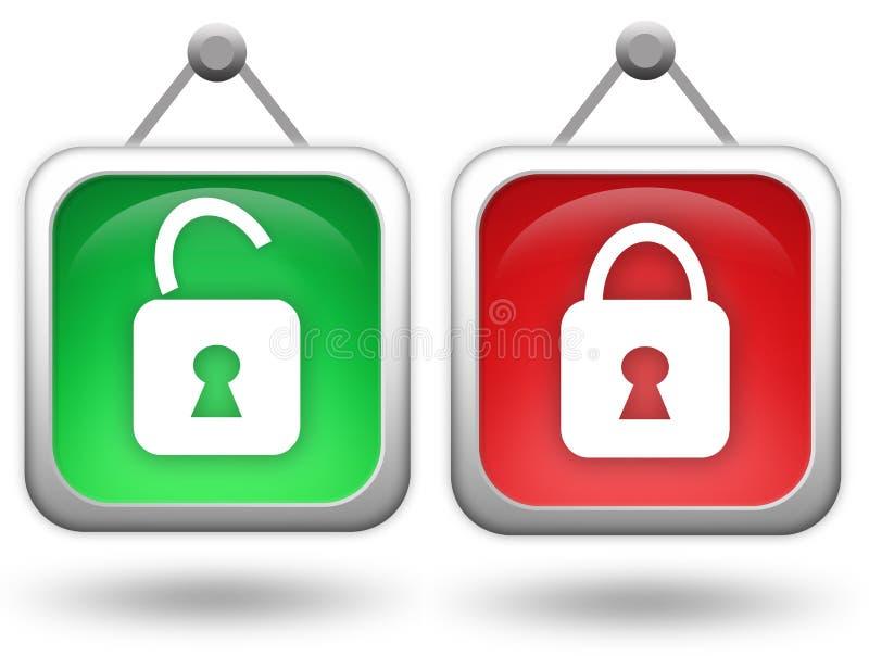 Icono abierto-cerrado ilustración del vector