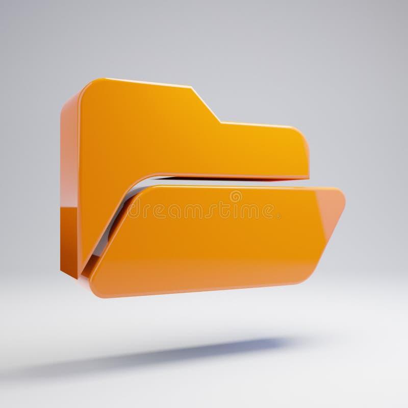 Icono abierto de la carpeta anaranjada caliente brillante volumétrica aislado en el fondo blanco fotografía de archivo libre de regalías