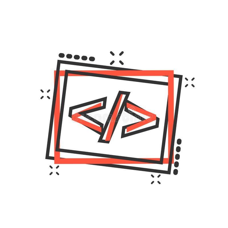 Icono abierto de la fuente de la historieta del vector en estilo cómico Programación del Api stock de ilustración