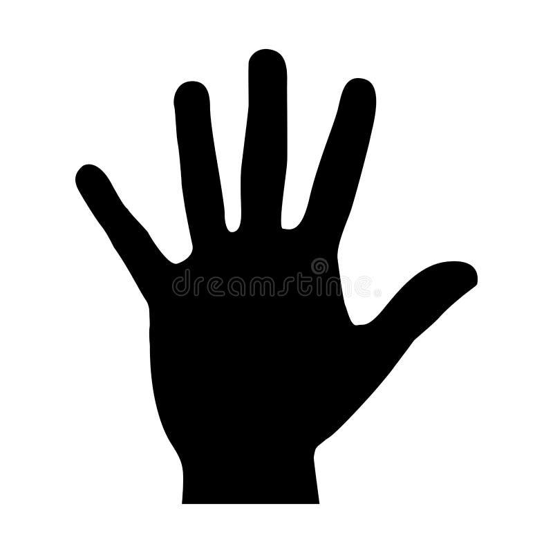 icono abierto de la mano negra de la silueta ilustración del vector