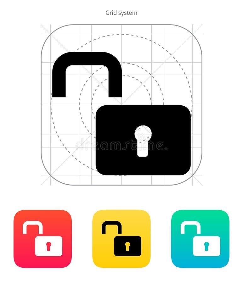 Icono abierto del candado. ilustración del vector