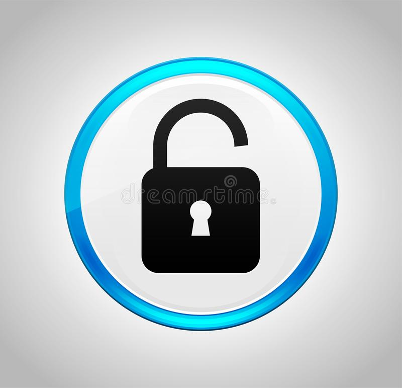 Icono abierto del candado alrededor del botón azul fotografía de archivo