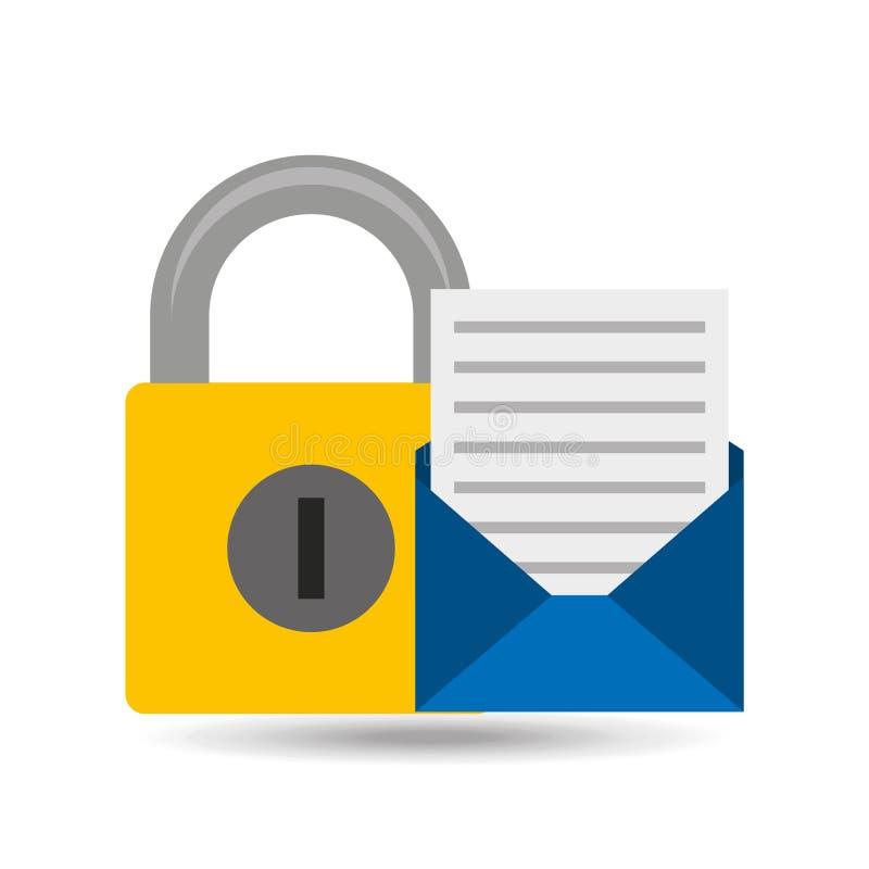 Icono abierto del candado del hoja informativa del correo electrónico libre illustration