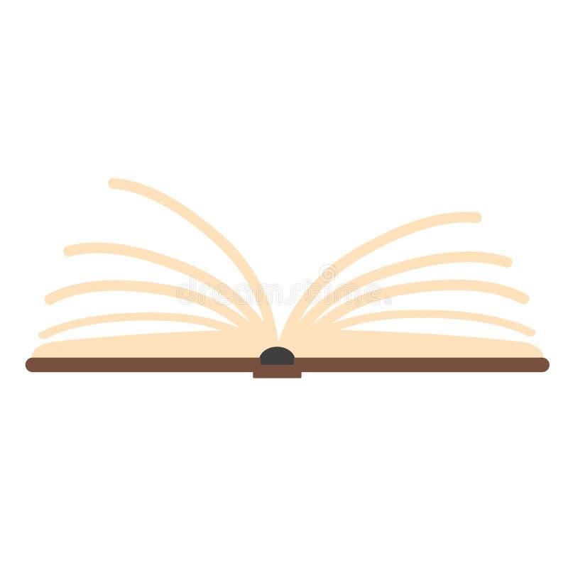 Icono abierto del libro del estilo plano en el ejemplo blanco, común del vector ilustración del vector