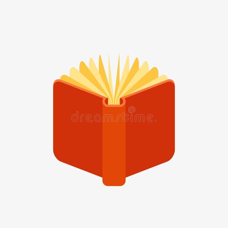 Icono abierto del libro del rojo ilustración del vector