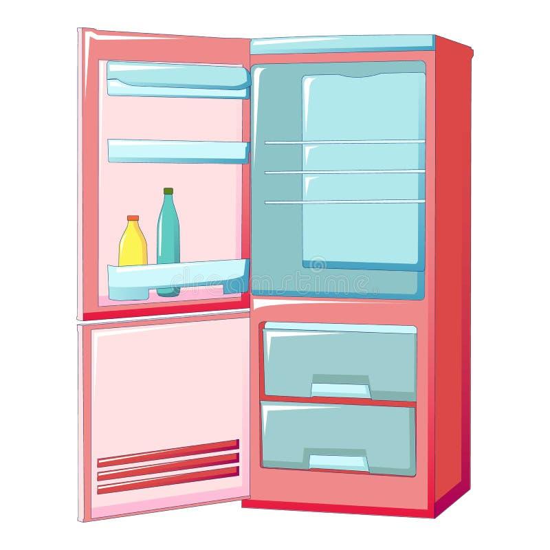Icono abierto del refrigerador, estilo de la historieta ilustración del vector