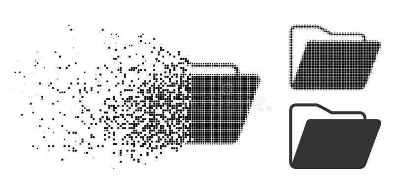 Icono abierto destrozado de la carpeta del tono medio de Pixelated stock de ilustración