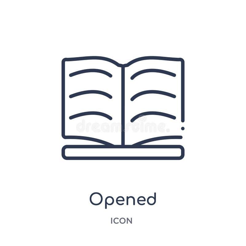 Icono abierto linear de la colección del esquema de la educación La línea fina abrió el icono aislado en el fondo blanco de moda  ilustración del vector