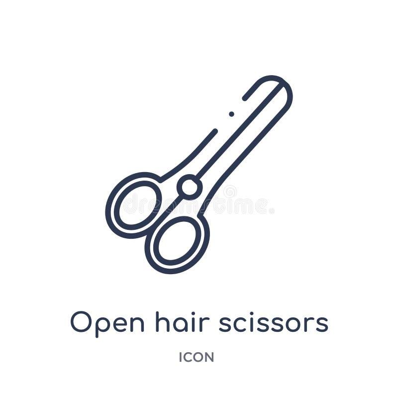 Icono abierto linear de las tijeras del pelo de la colección del esquema de la belleza Línea fina vector abierto de las tijeras d stock de ilustración